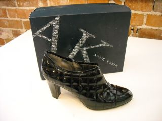 AK Anne Klein Tangie Black Patent Quilted Shootie Shoes