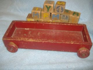 1940 childrens wood wagon abc number blocks antique baby wooden pull