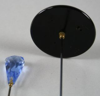 Two Long Antique Hat Pins One Blue Glass One Black Composition w Glass