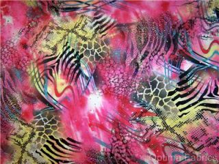 Hot Pink Swirly Animal Print Hologram Sequin Dot Lycra Stretch Fabric