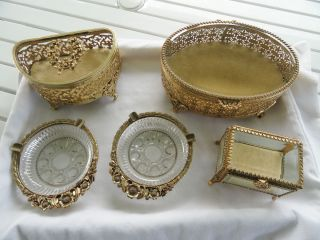 Antique Ormulu Filigree Casket Jewelry Boxes matching ashtrays Beveled