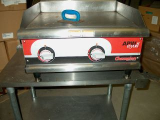 APW Wyott Champion Electric Griddle and Stainless Steel Table