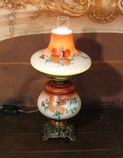 Antique Vintage 1800s Converted Hand Painted Glass Oil Table Lamp