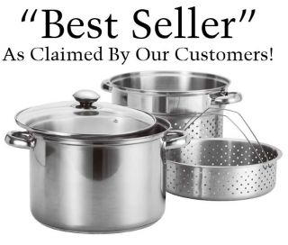 8qt Stainless Steel Stock Pot 4pc Deep Pasta Cooker Multi Cooker