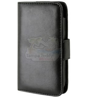 Premium Black Leather Folding Case Cover for Apple iPhone 4 4S 4G 4GS