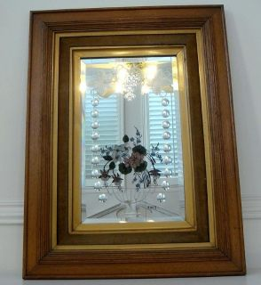 Antique Wood Frame Art Deco Signed Gypsy Beveled Mirror   2A