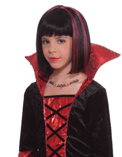 Childs Black Vampire Princess Costume Wig with Red Steaks