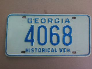 Georgia Permanent Antique Hobby Old Car License Plate Tag 1900 1965