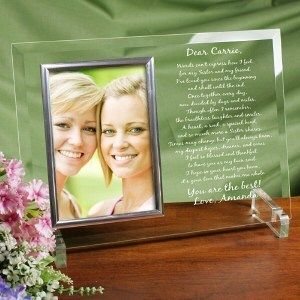 To My Sister Personalized Beveled Glass Sisters Picture Photo Frame