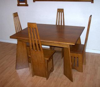 arts crafts mission quarter sawn oak table chair dining room set