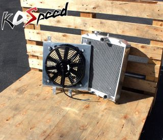 MT 3 Row Tri Core Aluminum Racing Radiator Cooling Fan Shroud