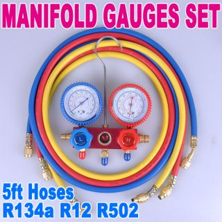 R134a R12 Manifold Gauges Set Freon 5ft Hoses A C Automotive Air