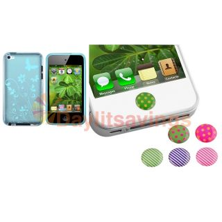 Dots Home Button Sticker Clear Blue TPU Flower Case for iPod Touch 4
