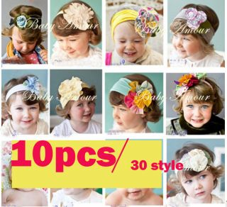10pcs Headwrap Headband Boy Girls Baby Flower Hair Band