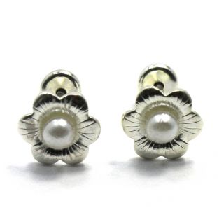 Sterling Silver 925 Baby Girl Earrings 2mm White Pearl Flower Security