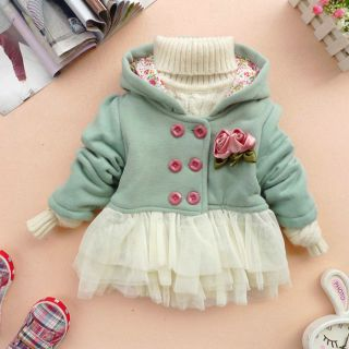 Sale Baby Girl Clothes Autumn Winter Coat Kid Pink Green Red Coat Gown