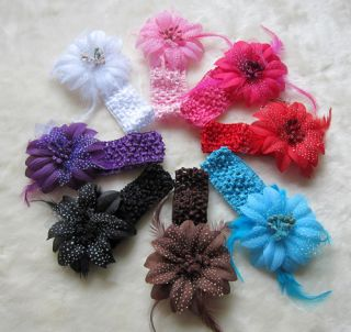 Colors Cute Baby Boys Girls Crochet Headband Flower Hair Clip Free