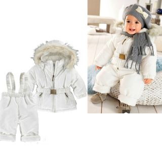 Baby Boy Girls winter Quilted Snow Ski Suit Jacket Brace Pant 2pcs