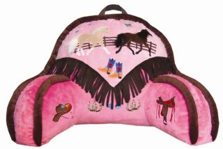 Kids Pink Western Cowgirl Horse Lounge Pillow Backrest