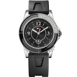 Tommy Hilfiger Aventura Womens Watch All Black Crystals Rubber Strap