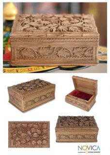 Love Garden India Handmade Walnut Wood Jewelry Box Art