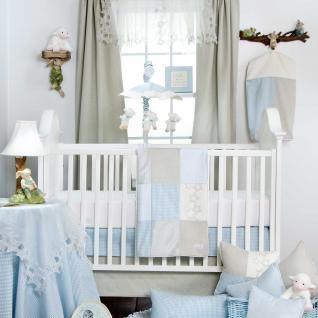Blue, Gray, and White Gingham Nursery Baby Boy 3pc Crib Bedding Set