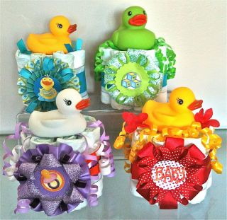 Mini Baby Shower Favors Gifts Boy Girl Colored Duck Bath Toys