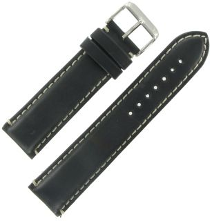 Hadley Roma Watch Band 22mm Mens Black Oil Tan Leather Stitched