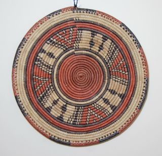 African Hand Woven Basket Coiled Flat Ethnic Brown Black Version 4