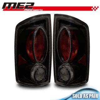 02 06 Dodge RAM Tail Lights Black Housing Smoke Lens Tail Lamps PAIR