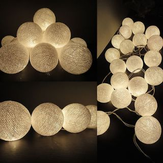 20 White Lantern Tone Handmade Cotton Balls Fairy String Lights Home