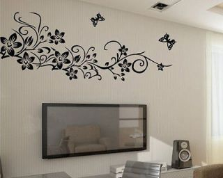 Black Flower Butterfly Removable Wall Sticker Home Decor Art Decal