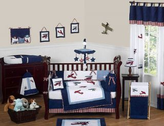 NEW VINTAGE AIRPLANE PLANES 9pc BABY BOY CRIB COMFORTER BEDDING SET