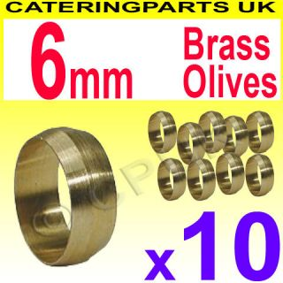 Pack of 10 6mm BRASS OLIVES FOR COPPER TUBING / PIPEWORK / PILOT TUBE