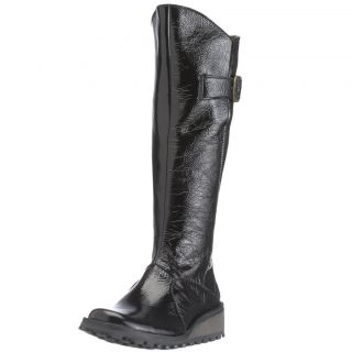 Fly London Womens Yush Black Patent New Leather Long Boots Shoes