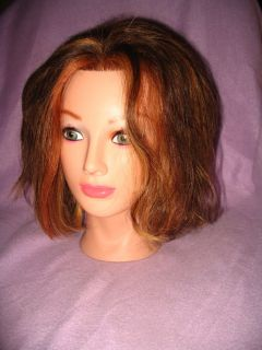 Lot 3 Student Cosmetology Mannequin Heads Used 100% Human Hair