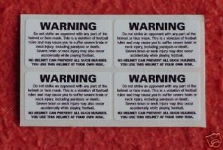 Back of FOOTBALL HELMET WARNING decal sticker for sports uniform LARGE