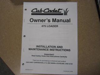 cub cadet 475 loader owners maintenance manual