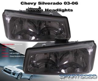 2003 2004 2005 2006 CHEVY SILVERADO SMOKED LENS HEADLIGHTS + BUMPER