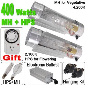 400W Watt HPS MH Digital Grow Light Air Cool Tube Hood