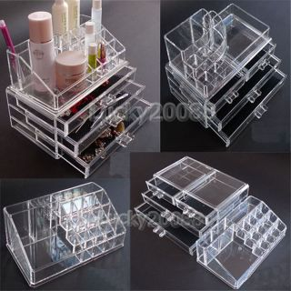 Clear Acrylic Jewelry Makeup Storage Drawers Cosmetic Organizer 07