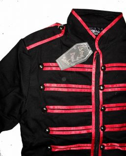 Black Red Military Mens Jacket Goth Adam Ant s M L XL
