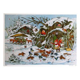 Advent Calendar Made In Germany Glittered Christmas Elves & Woodland