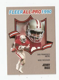 1990 Jerry Rice Fleer All Pro Football Trading Card 2 of 25