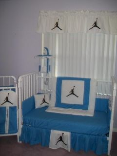 Custom Made New Michael Jordan Baby Blue and White Crib Bedding Set
