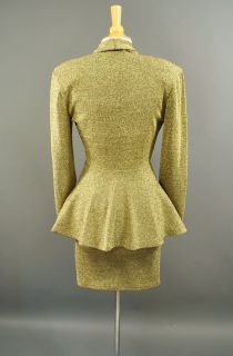 Vtg Gold Metallic Peplum Jacket Blazer Mini Bodycon Dress Set Avant