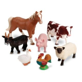 Kids Toddler Toy Jumbo Farm Animals 7 Animal Figures Set Pig Horse Cow