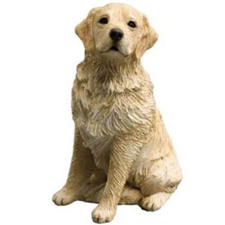 Adorable Light Golden Retriever Dog Statue Mid Size Figurine Sculpture