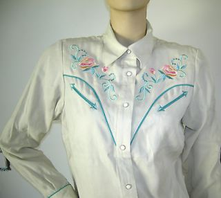 ROCKABILLY WESTERN COWGIRL RODEO AMERICANA EMBROIDERED SNAP SHIRT M