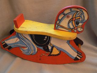 Vintage Cass Toys Charming Childs Wooden Rocking Horse Pony 1940s